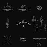 Minimalistic denominou ícones da padaria e o teste padrão simples Fotos de Stock Royalty Free
