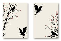 Vector illustration with silhouettes of birds, ravens. Minimalistic design cover for notebook, book, poster. Black and white background, a5 template Royalty Free Stock Images