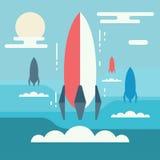 Minimalistic design för Startup begrepp Raketlansering som metafornolla vektor illustrationer