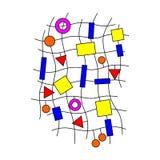 Minimalistic design, idérikt begrepp, geometrisk beståndsdel för modern abstrakt bakgrund Blåa, gula och röda former på kurvlinje royaltyfri illustrationer