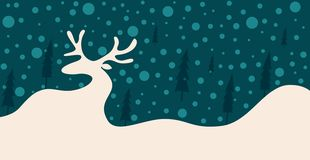 Silhouette of a reindeer in the snow among the trees royalty free illustration