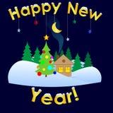 Minimalistic die Gelukkig Nieuwjaarembleem begroeten Royalty-vrije Stock Afbeeldingen