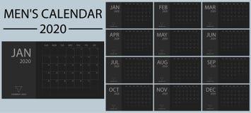 Minimalistic e vetor 2020 do calendário dos homens limpos, simples e à moda do ano novo Preto e máscaras do cinza Planne do event ilustração royalty free