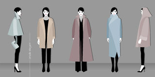 Minimalistic fashion. Vector illustration of minimalistic fashion for women stock illustration