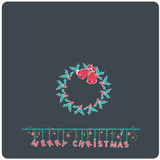 Minimalistic flat design Merry Christmas e-card with christmas mistletoe bells wreath royalty free illustration