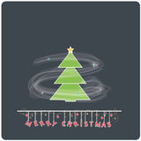 Minimalistic  flat design Merry Christmas e-card with christmas tree. Winter snowflakes and christmas balls Royalty Free Stock Photos