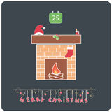 Minimalistic flat design Merry Christmas e-card. With christmas fireplace,santa's hat,ornamental bells,candles,sock,calendar,fire and christmas balls royalty free illustration