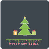 Minimalistic flat design Merry Christmas e-card. With christmas tree , presents and christmas balls vector illustration