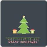 Minimalistic  flat design Merry Christmas e-card. With christmas tree , presents and christmas balls Stock Photos