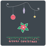 Minimalistic flat design Merry Christmas poinsettia e-card royalty free illustration