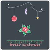 Minimalistic  flat design Merry Christmas poinsettia e-card Stock Image
