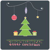 Minimalistic flat design Merry Chrstmas e-card with christmas tree. Merry Christmas e-card with christmastree ,christmas balls and gift boxes royalty free illustration