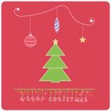 Minimalistic  flat design Merry Chrstmas e-card  Royalty Free Stock Photography