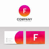Minimalistic flat F letter in round shape logo company icon vect Stock Photo