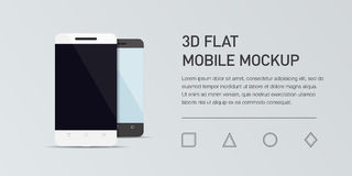 Minimalistic  flat illustration of mobile phone. Mockup generic smartphone.  Royalty Free Stock Photo