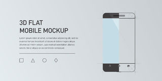 Minimalistic  flat illustration of mobile phone. Mockup generic smartphone.  Stock Image