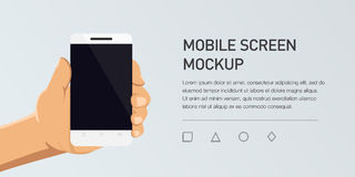 Minimalistic  flat illustration of mobile phone. Mockup generic smartphone  Royalty Free Stock Photo