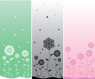 Minimalistic flower backgrounds. Three simple flower backgrounds in vector for greeting cards or invitations Stock Images