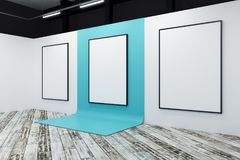 Minimalistic gallery with blank banner. Minimalistic gallery interior with blank banner. Advertising, exhibition concept. Mock up, 3D Rendering Royalty Free Stock Image