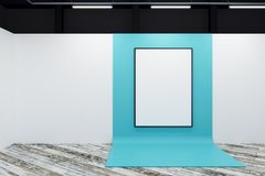 Minimalistic gallery with blank poster. Minimalistic gallery interior with blank poster. Advertising, exhibition concept. Mock up, 3D Rendering Royalty Free Stock Images