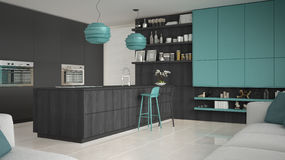 Minimalistic gray kitchen with wooden and turquoise details, min Royalty Free Stock Photo