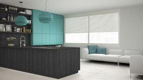 Minimalistic gray kitchen with wooden and turquoise details, min Stock Image