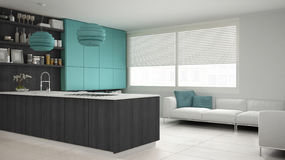 Minimalistic gray kitchen with wooden and turquoise details, min Royalty Free Stock Image