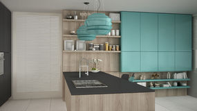 Minimalistic gray kitchen with wooden and turquoise details, min Stock Photos