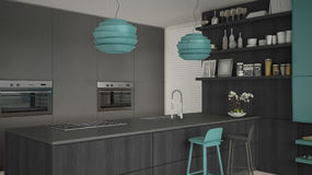 Minimalistic gray kitchen with wooden and turquoise details, min Royalty Free Stock Photography