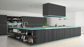 Minimalistic gray kitchen with wooden and turquoise details, min Royalty Free Stock Photos