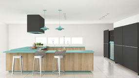 Minimalistic gray kitchen with wooden and turquoise details, min Stock Photography
