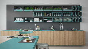 Minimalistic gray kitchen with wooden and turquoise details, veg Royalty Free Stock Photos