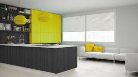 Minimalistic grijze keuken met houten en gele details, minima Royalty-vrije Stock Afbeeldingen