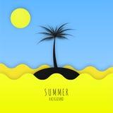 Minimalistic Hintergrund des Sommers mit Meer, Sonne und Palme Lizenzfreies Stockfoto