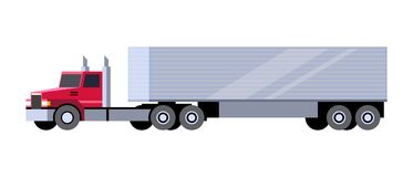 Box trailer truck. Minimalistic icon box trailer tractor front side view. Semi trailer vehicle. Vector isolated illustration royalty free illustration