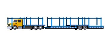 Car hauler with trailer. Minimalistic icon car carrier truck front side view. Car hauler with trailer vehicle. Vector isolated illustration royalty free illustration