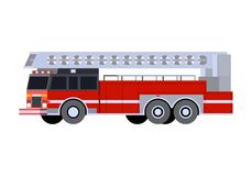Minimalistic icon fire truck ladder. Front side view. Fire truck emergency vehicle. Vector isolated illustration Stock Image