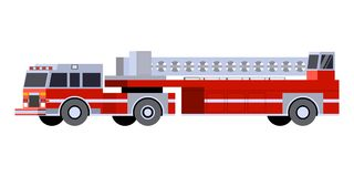 Minimalistic icon fire truck tractor ladder. Front side view. Fire truck emergency vehicle. Vector isolated illustration Royalty Free Stock Photo