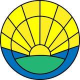 Minimalistic-Ikone mit Sonnenaufgang Lizenzfreie Stockfotografie