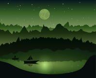 Minimalistic-Illustration einer Natur Boot auf dem dunklen See in der Nacht Auch im corel abgehobenen Betrag Stockfotos