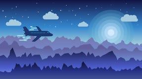 Minimalistic-Illustration einer Natur Flaches Fliegen über den Bergen Auch im corel abgehobenen Betrag Stockfoto