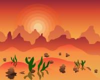 Minimalistic-Illustration einer Natur Heiße Wüstensonne Auch im corel abgehobenen Betrag Lizenzfreies Stockfoto