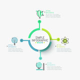 Minimalistic infographic design layout. Central round element connected with four colorful icons and text boxes. Goals of scientific research concept. Vector Stock Image