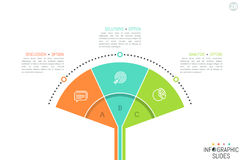 Minimalistic infographic design layout. Tree diagram with 3 lettered elements, icons and text boxes. Three steps of modern business process concept. Vector stock illustration