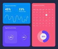 Minimalistic infographic template with flat design daily statistics graphs, dashboard, pie charts, multiple circle. Template with options for diagram, workflow Royalty Free Stock Photo