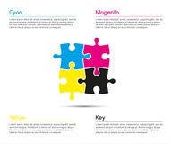 Minimalistic infographic template with four puzzle pieces. In  cmyk colors for your business project, vector illustration Royalty Free Stock Photography