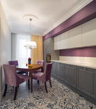 Minimalistic interior Kitchen Furniture. Simple Modern Kitchen Minimalistic interior magazine style Stock Photo