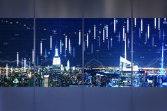 Trade and analysis concept. Minimalistic interior with night New York city view and forex chart on windows. Trade and analysis concept. Double exposure royalty free illustration