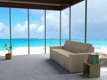 Minimalistic interior overlooking blue seas Royalty Free Stock Photo