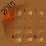 Minimalistic 2015 kalendarz Zdjęcie Stock